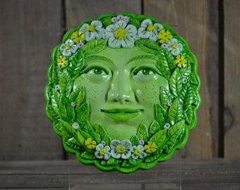 Green Spring Goddess 'Flora' - plaque stone relief sculpture handpainted - Green Man