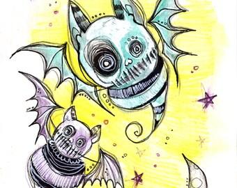 Spooky Cute Bats bat Mixed Media Illustration Drawlloween 2016