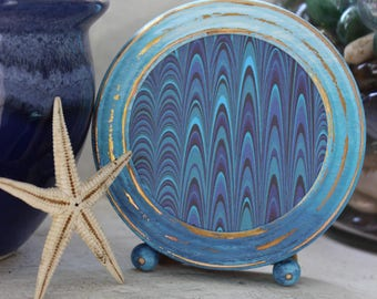 Hand Painted Ombre Vintage Round Picture Frame , Beach Decor , Coastal Style , Blue Frame