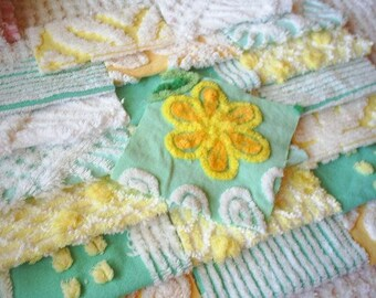 Vintage Chenille Bedspread Squares in Yellow and Aqua with Daisy Flower-21-6""