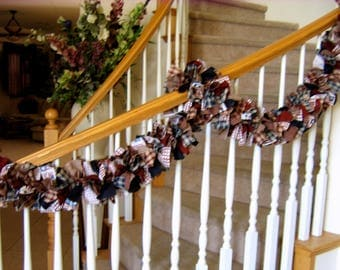 7ft.Americana Garland,Fabric garland,Country garland,Party Decoration,Rag Garland,4th of July Decoration,Americana Fabric Garland,Americana