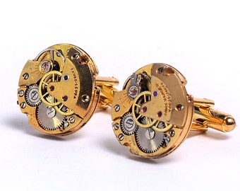 Steampunk Antique Rose Gold Favre-Leuba Watch Movement Cuff Links