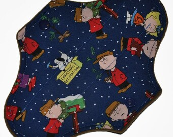 Liner Hemp Core- Charlie Brown Christmas Reusable Cloth Mini Pad- WindPro Fleece- 7.5 Inches (19 cm)