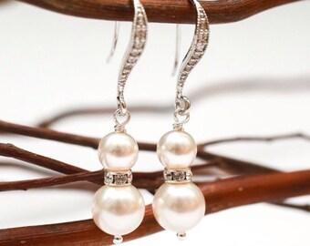 Wedding Earrings Rhinestone and Pearl Silver Bridal Earrings Vickie