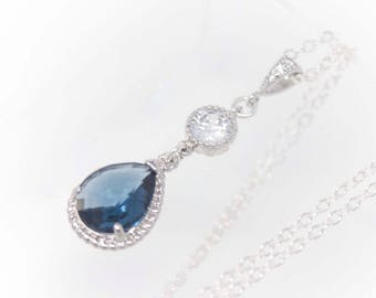 Bridal Jewelry Navy Blue Rhinestone Long Teardrop Wedding Necklace