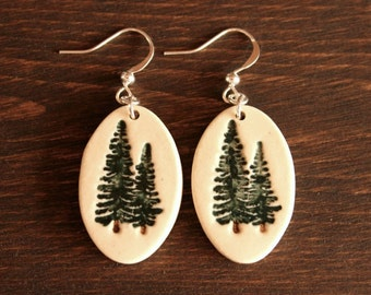 Ceramic PINE TREE Earrings - Handmade Porcelain Pine Tree Jewelry - Ready To Ship