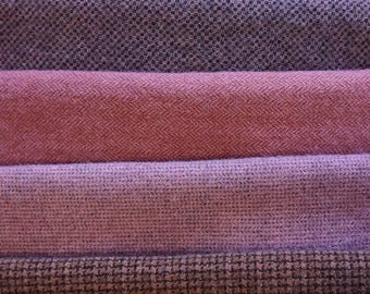 Rosey Pink Hand dyed felted wool in a range of Rose tones - textures perfect rug hooking and applique wool