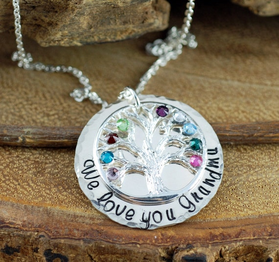 Silver Grandma Family Tree Necklace, Grandmother Jewelry, Birthstone Family Tree Necklace, Tree of Life Jewelry, Mothers Necklace
