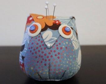 Blue, Orange and White Owl Pincushion