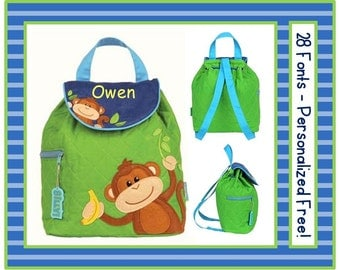 28 Fonts- Toddler MONKEY Smaller Personalized Quilted Backpack- Boy's Lime Green and Blue Preschool/ Day Care/ Diaper Bag