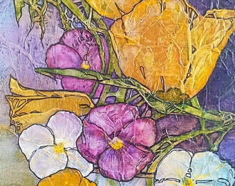POPPIES PANSIES Original Painting ZEN Inspired Floral Watercolor On Tissue Lynne French
