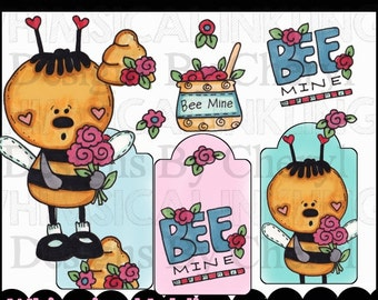 Bee My Valentine Clipart Collection - Immediate Download
