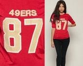 49ers Shirt Football Tshirt San Francisco 80s NFL T Shirt Football Jersey 87 Dwight Clark California Tee Sports Vintage Retro Small