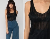 Sheer Tank Top Black Shirt Striped Top 80s Retro Longline Grunge 1980s Sleeveless Long Vintage Small Medium