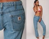 Carhartt Jeans Pants Workwear Blue Boyfriend Jeans Work Pants 90s Baggy Denim Pants Vintage Hipster Medium Large