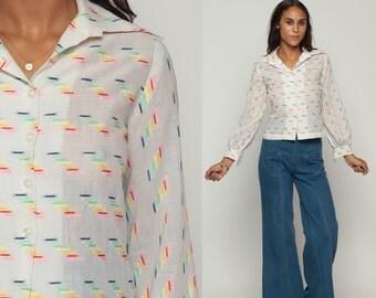 70s Boho Top Sheer Blouse White Cotton Button Up Shirt RAINBOW DOTTED LINE Bohemian Long Sleeve 1970s Vintage Boho Disco Hippie Small