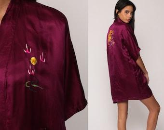 Asian Kimono Robe Jacket SATIN Robe DRAGON Robe Embroidered Dressing Gown 90s Purple Bohemian Wrap Vintage Boho Hippie Small Medium