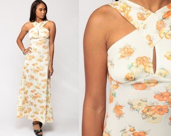 Bohemian Dress 70s Maxi Floral Print Boho Empire Waist Boho KEYHOLE Grecian Mod 1970s Vintage Sleeveless White Orange Small