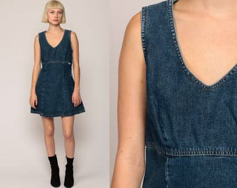 GUESS Jeans Dress Denim Dress 90s Mini Babydoll 1990s Grunge Blue Empire Waist Hipster Vintage Minidress Retro Sleeveless Small Medium