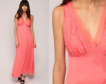 Lace Nightgown Lingerie Slip Dress 70s Maxi Boho Pink Nightgown Deep V Neck Empire Waist Vintage Bohemian Medium