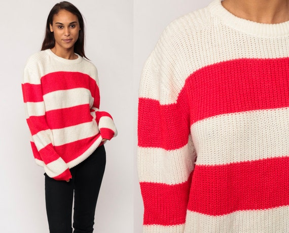 Striped Sweater 80s Acrylic Knit Red White Grunge Oversized