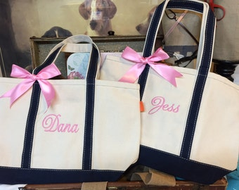 Set of 8 Personalized Totes, Bridesmaid Gift Bags, Canvas Totes, Monogrammed Totes