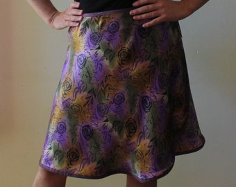 Knee length Wrap Skirt, retro, purple floral,silky (one size fits most small - large)