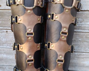 Black and Bronze Leather Shin Guards, Shinguards or Gaiters with Primitive Brass Ring