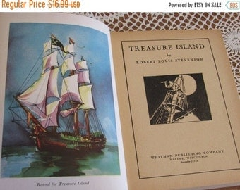 SALE- 1930s TREASURE ISLAND-Antique Hardcover Book, Childrens Classic by Robert Louis Stevenson
