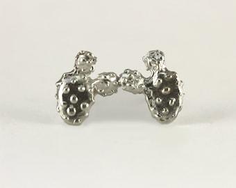 Prickly Pear Cactus Earrings in Sterling Silver - Succulent Earrings