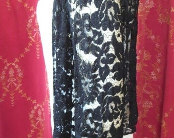 1930s Vintage Black Floral Lace Open Front Jacket Bell Sleeves As Is