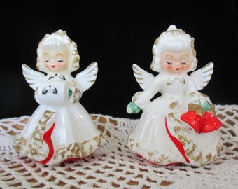Two Holt Howard Christmas Candles Angels  Vintage Japan