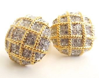 Oversized Rhinestone Cross Chain Dome Clip on Earrings