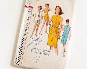 Vintage 1960s Womens Size 10 Dress Shirt Bra-Top and Shorts Simplicity Sewing Pattern 4976 Complete / b31 w24 / Summer Beach Resort Wear