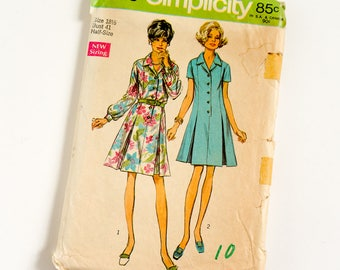 Vintage 1960s Womens Size 18.5 Princess Shirt-Dress Simplicity Sewing Pattern 8659 Complete / bust 41 waist 34