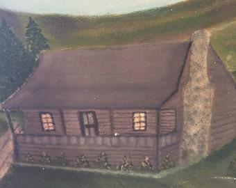 "ANTIQUE PAINTING 1934 SHIPPEY/Log Cabin Pastoral Mountains/Primitive Naive Outsider Art/Folk Art/26.5"" X 21.5"" at A Vintage Revolution"