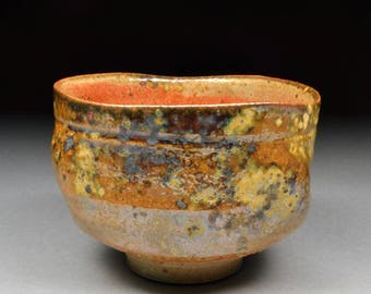 Handmade Stoneware Yunomi Tea Cup Shaped like a Chawan Glazed with Carbon Trap Shino, Wood Ash, Rutile and Copper