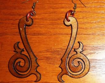 Laser-cut steampunk/tribal wood earrings. Style 1 - large