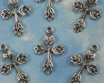 BuLK 30 Cross Charms Leaf Edged Silver Tone 25mm Save 30% (P1575 -30)