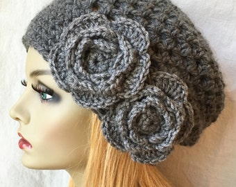 Crochet Womens Hat, Slouchy Beret, Charcoal Gray or Pick Your Color, Rose Flower, Chunky, Teens, Birthday Gifts, Gifts for Her JE407SBTF6