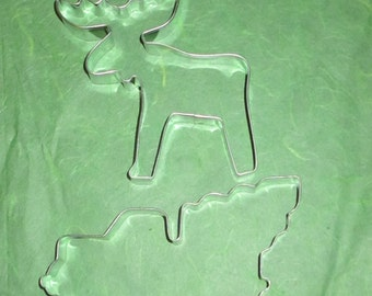 Reindeer or Moose cookie cutter, Pickup Tree w/ Christmas tree cookie cutter, Made in USA, reindeer cookie cutter,  Christmas cookie cutter,