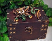 Ooak Polymer Clay Green Sad Little Dragon Sculpture on Steampunk Style Old World Style Chest #761 Fantasy Home Decor storage