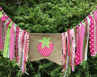Free USA Shipping/Strawberry High Chair Banner/Strawberry Fabric Banner/Strawberry Cake Smash/Strawberry Fabric Garland/First Birthday Party