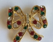 ON SALE Eisenberg Ice Christmas Holiday Bow Pin