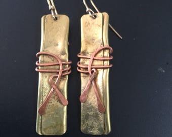 Vintage Long Modernist Brass & Copper Drop Earrings