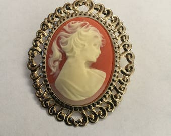 Vintage Large Victorian Revival Cameo Brooch 1970s