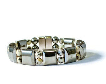 Magnetic Hematite Therapy Bracelet with Dalmation Jasper, Men's Pain Relief Jewelry