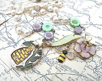 bee skep hive necklace assemblage enamel flower romantic garden cottage chic fairy pixie