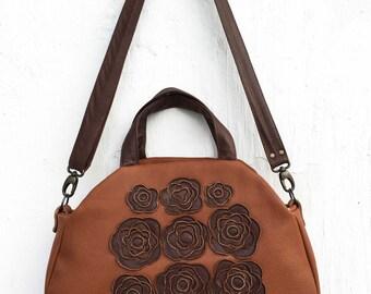brown leather bag leather floral handag, rustic leather bag, vintage leather briefcase bag, boho leather bag,  purse, shoulder bag gift idea