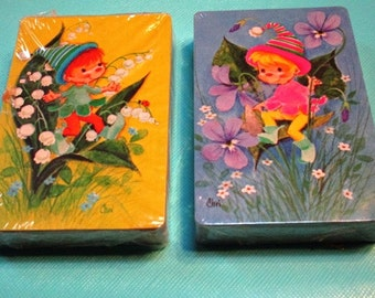 CHOICE Vintage Playing Cards, 1 Deck, Fairy Elf Pastel Woodland Spring Flowers, Ephemera Game, Paper Craft Supply Baby Banner Craft  Supply